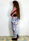 VINTAGE 90's Blue & Red Flower Patchwork Jumper