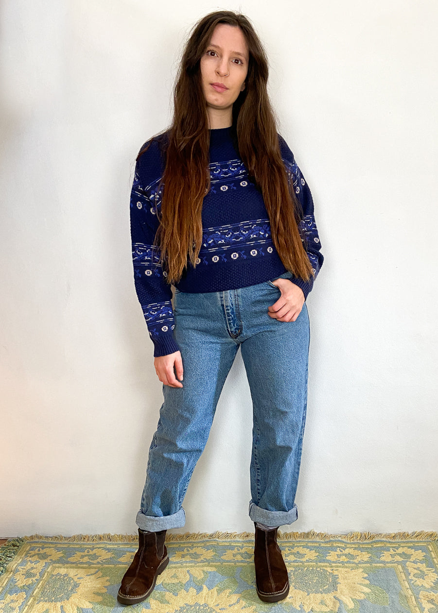 VINTAGE 90's Blue Bohemian Pattern Long Sleeve Jumper - M