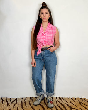 VINTAGE 90's Pink Gingham Sleeveless Top - S/M