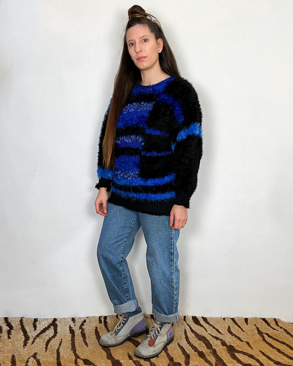 VINTAGE 80's Blue Fluffy Cosy Jumper - M