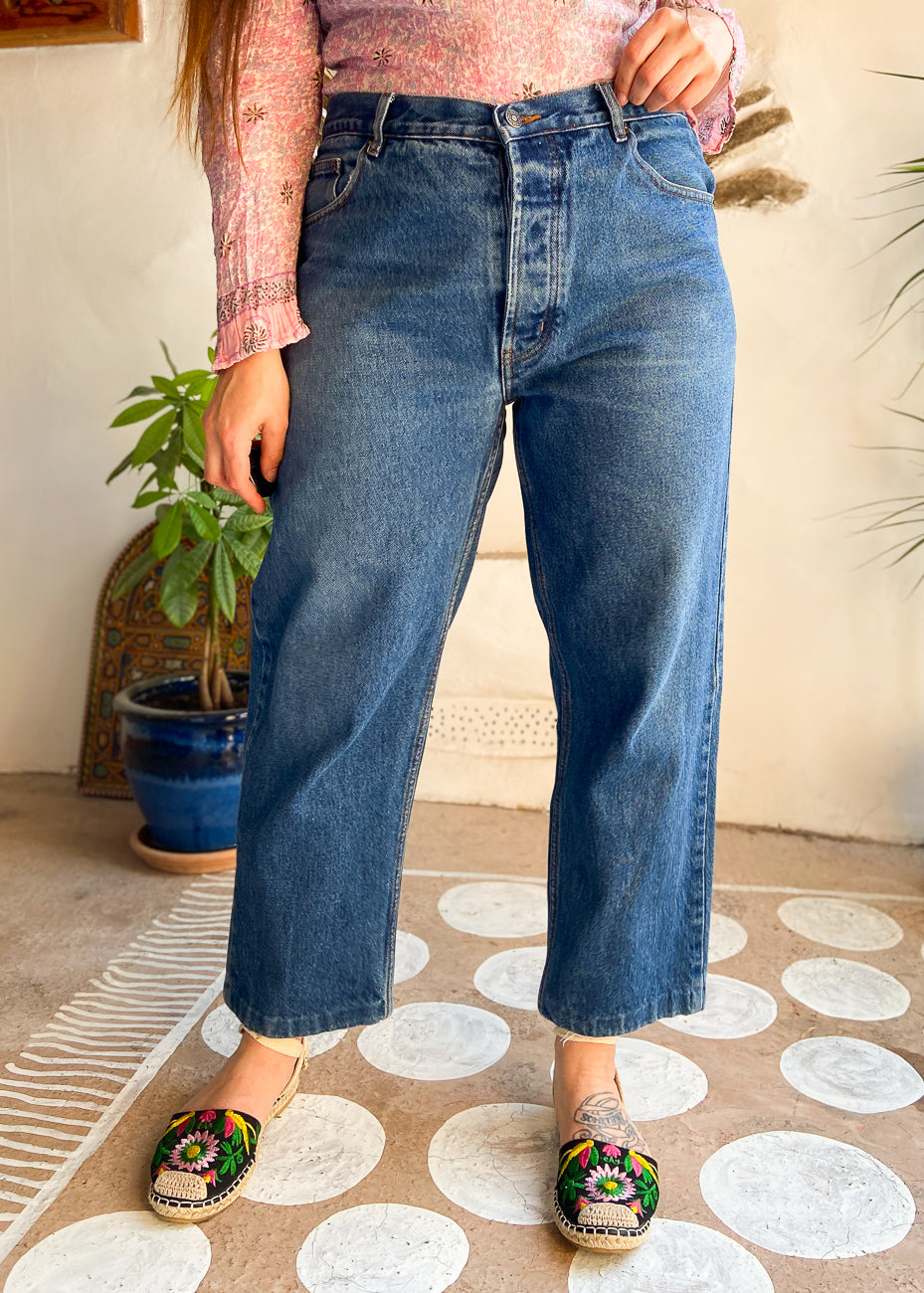 VINTAGE 90's Blue Stripe Knit Waterfall Cardigan - S