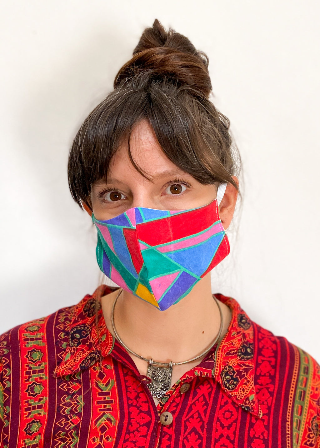 DESERT FOX Vintage Fabric Rainbow Zero Waste Reversible Reusable Face Mask