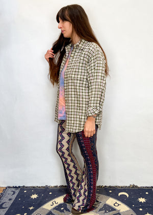 VINTAGE 90's Grunge Checked Flannel Long Sleeve Shirt - S/M