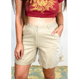VINTAGE High Waisted Beige Casual Cargo Shorts - S/M