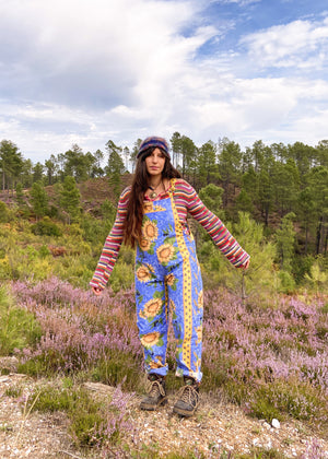 DESERT FOX Blue Sunflower Print Long Length Dungarees Jumpsuit