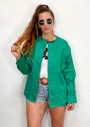 VINTAGE 80's Green Embroidered Long Sleeve Tunic - S/M