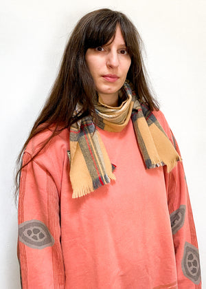 VINTAGE 90's Tartan Camel Checked Soft Scarf