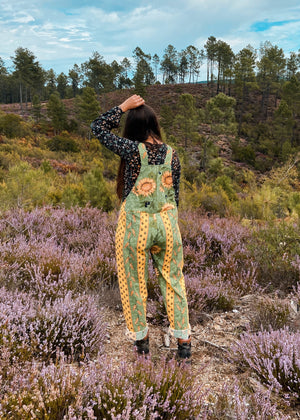 DESERT FOX Green Sunflower Print Long Length Dungarees Jumpsuit