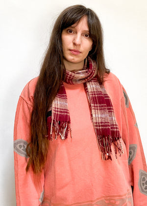 VINTAGE 90's Tartan Red & Camel Checked Soft Scarf