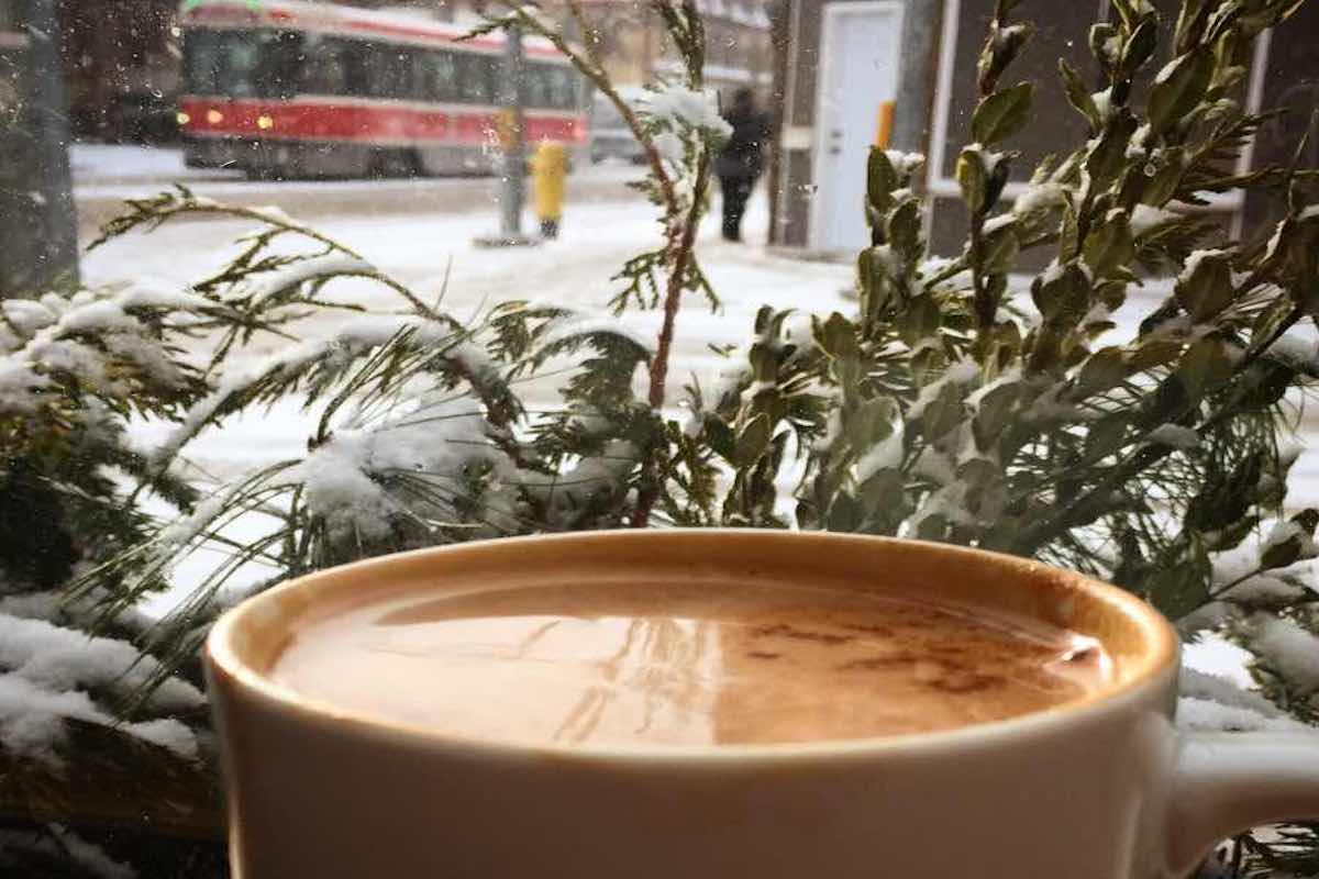 Coffee with winter outside