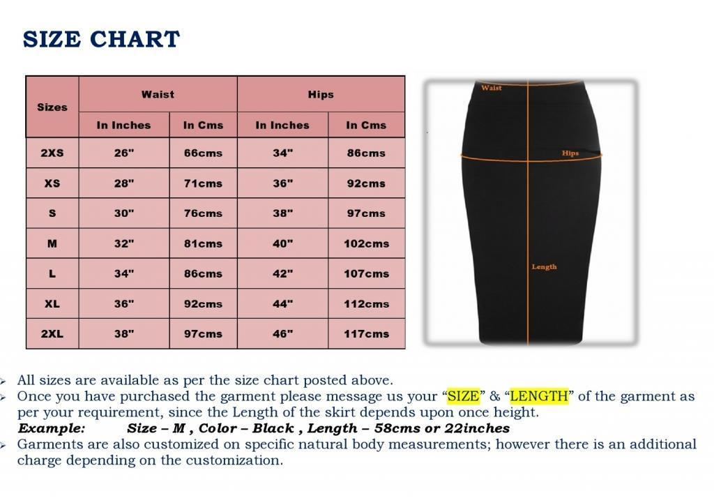 Women Skirt Size Chart - Koza Leathers