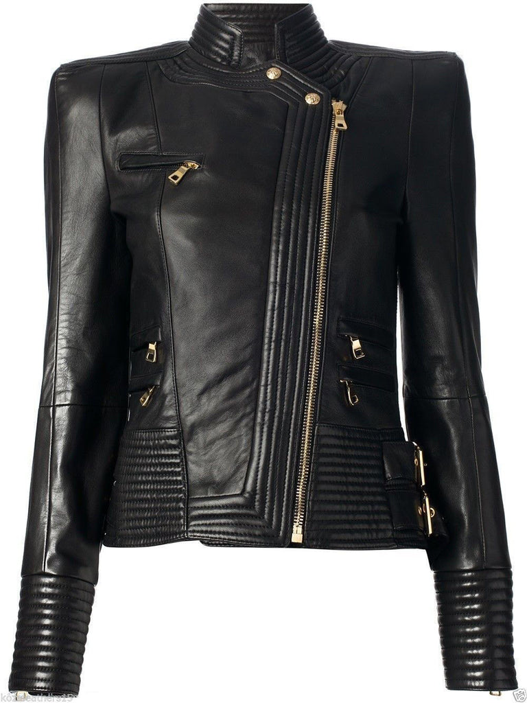 Biker / Motorcycle Jacket - Women Real Lambskin Leather Jacket KW001 - Koza Leathers