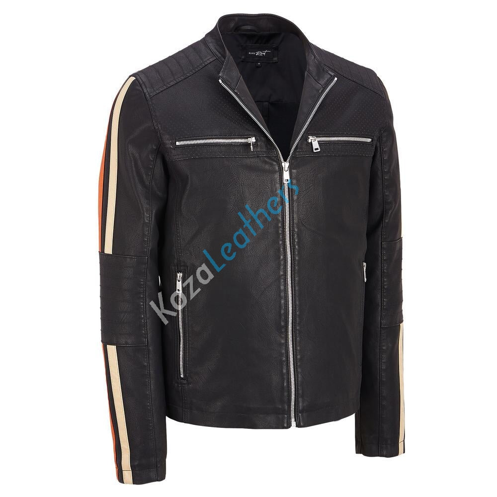 Biker Jacket - Men Real Lambskin Motorcycle Leather Biker Jacket KM206 - Koza Leathers