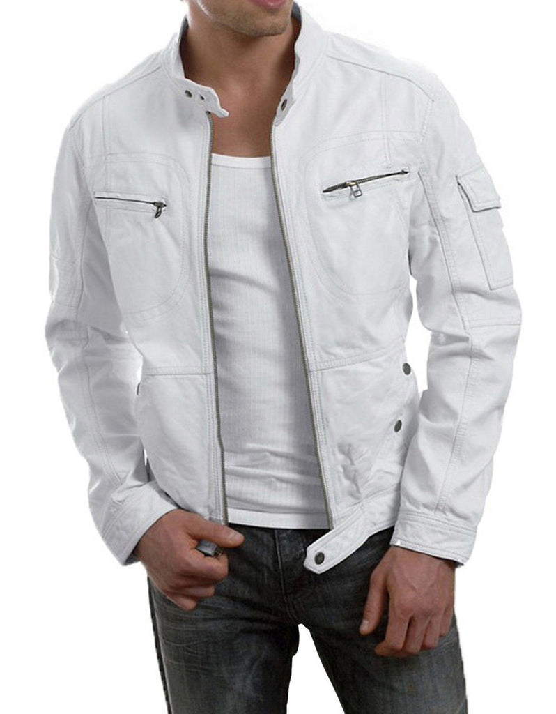 Biker Jacket - Men Real Lambskin Leather Jacket KM005 - Koza Leathers