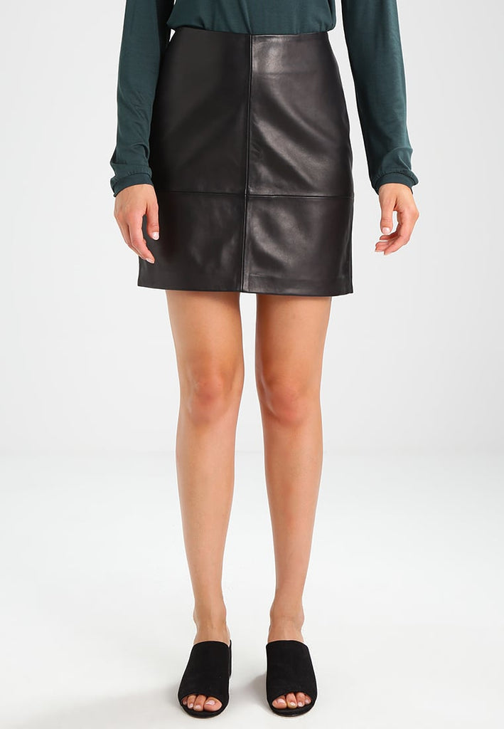 Knee Length Skirt - Women Real Lambskin Leather Mini Skirt WS126 - Koza Leathers