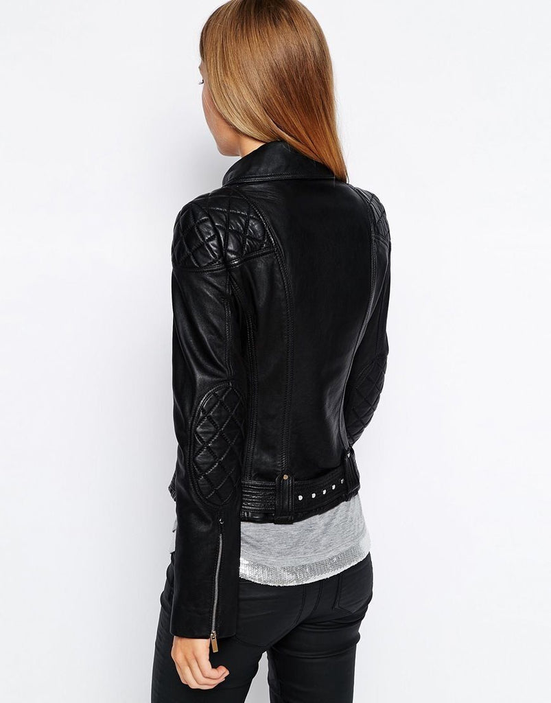 Biker / Motorcycle Jacket - Women Real Lambskin Leather Biker Jacket KW070 - Koza Leathers