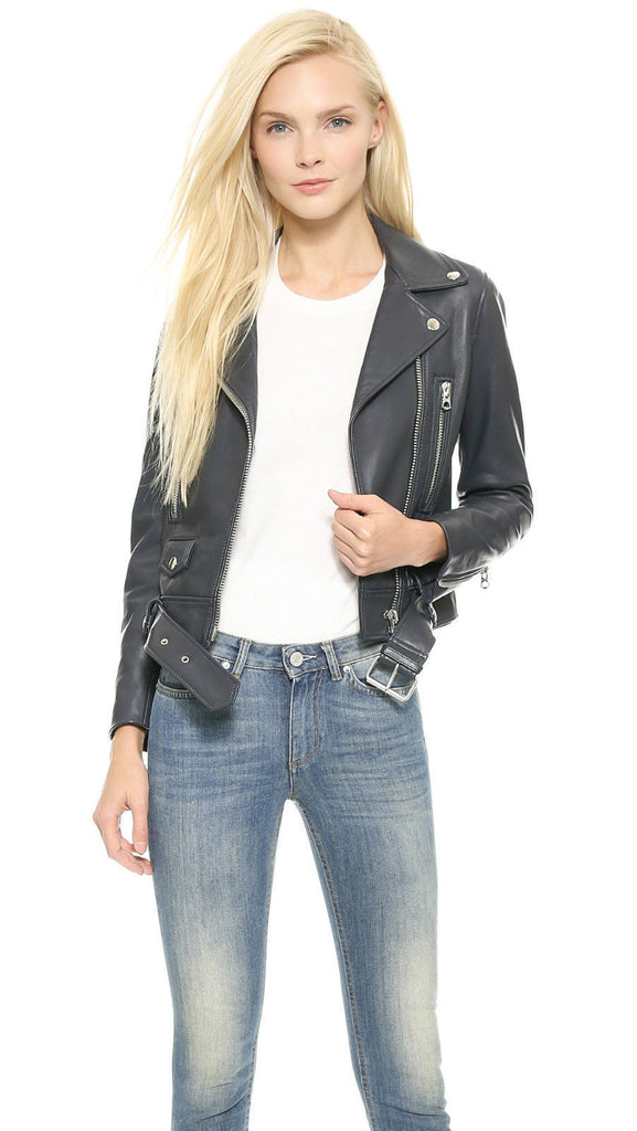 Women Real Lambskin Leather Biker Jacket KW071