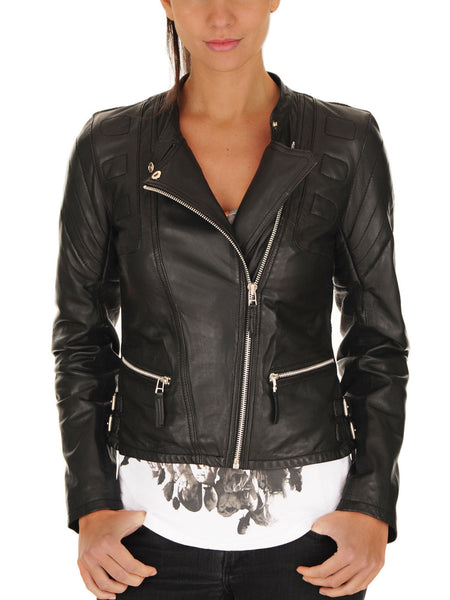 Women Real Lambskin Leather Biker Jacket KW072