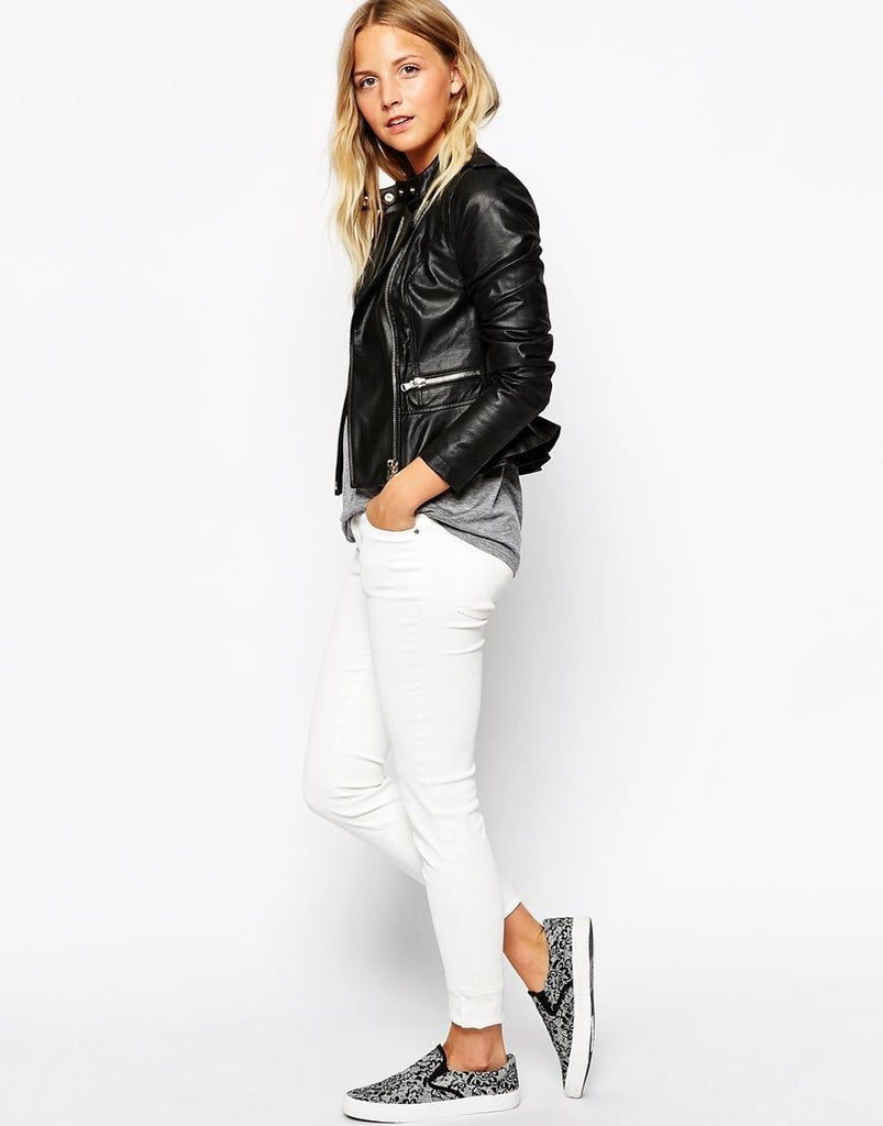 Women Real Lambskin Leather Biker Jacket KW075
