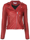 Biker / Motorcycle Jacket - Women Real Lambskin Leather Biker Jacket KW527 - Koza Leathers