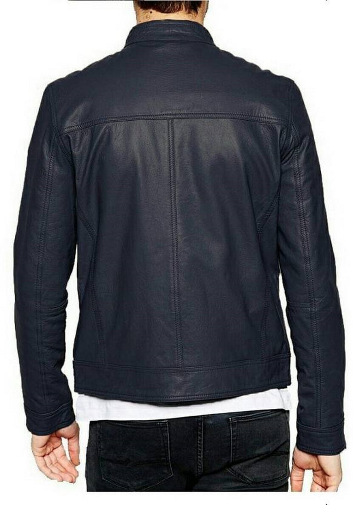 Biker Jacket - Men Real Lambskin Motorcycle Leather Biker Jacket KM480 - Koza Leathers