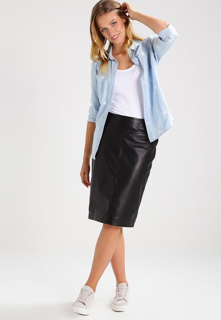 Knee Length Skirt - Women Real Lambskin Leather Knee Length Skirt WS128 - Koza Leathers