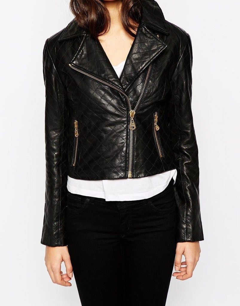 Women Real Lambskin Leather Biker Jacket KW077