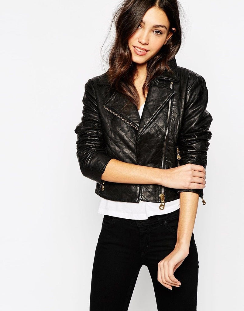 Biker / Motorcycle Jacket - Women Real Lambskin Leather Biker Jacket KW077 - Koza Leathers