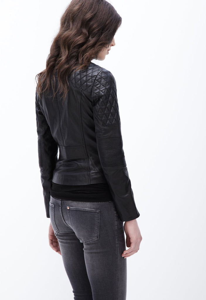 Women Real Lambskin Leather Biker Jacket KW078