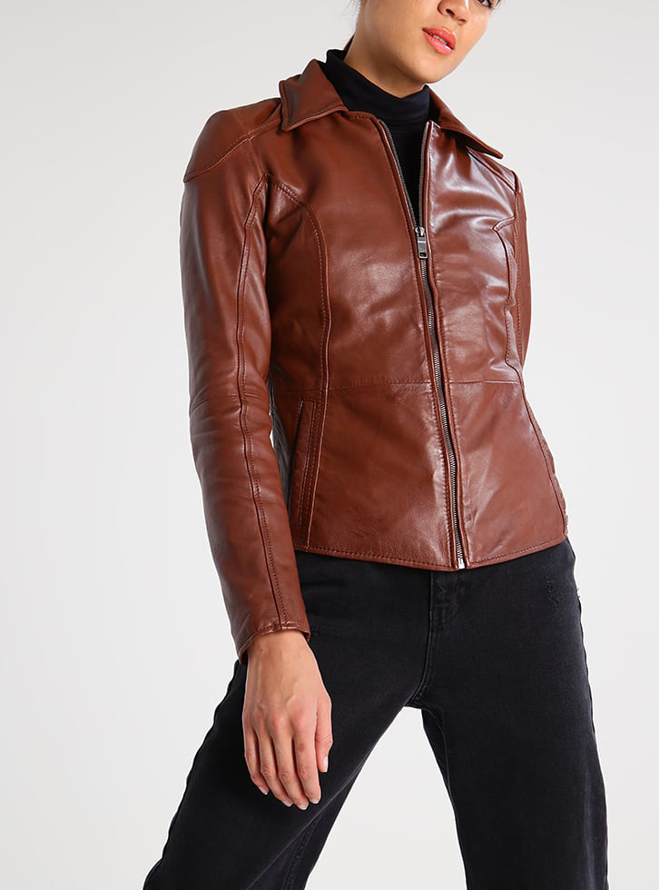 Biker / Motorcycle Jacket - Women Real Lambskin Leather Biker Jacket KW285 - Koza Leathers