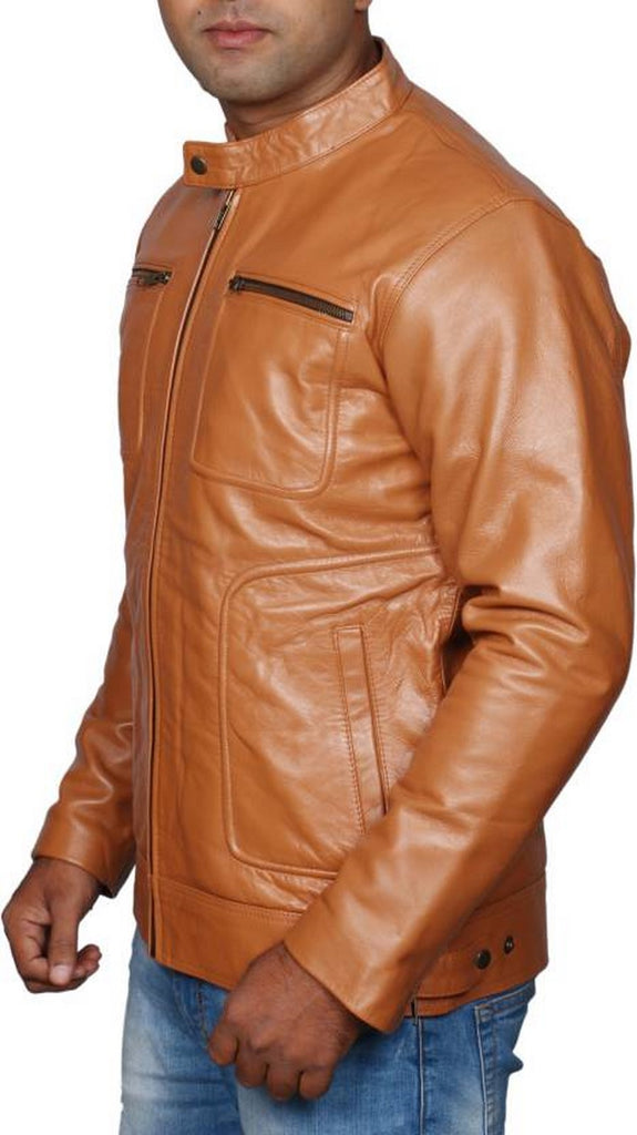 Biker Jacket - Men Real Lambskin Motorcycle Leather Biker Jacket KM483 - Koza Leathers