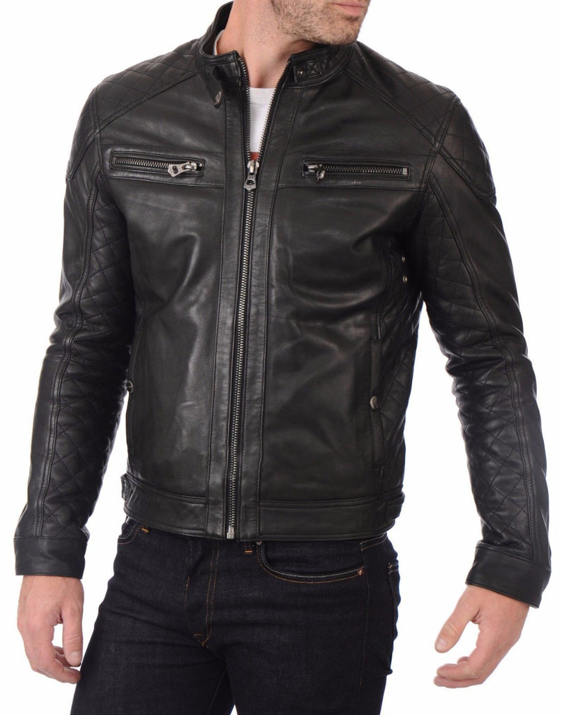 Biker Jacket - Men Real Lambskin Leather Jacket KM008 - Koza Leathers