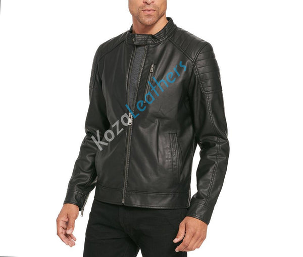 Biker Jacket - Men Real Lambskin Motorcycle Leather Biker Jacket KM211 - Koza Leathers