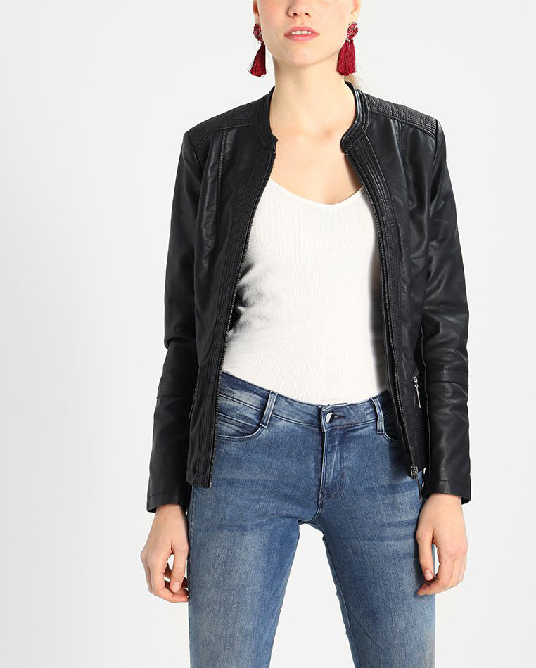 Biker / Motorcycle Jacket - Women Real Lambskin Leather Biker Jacket KW195 - Koza Leathers