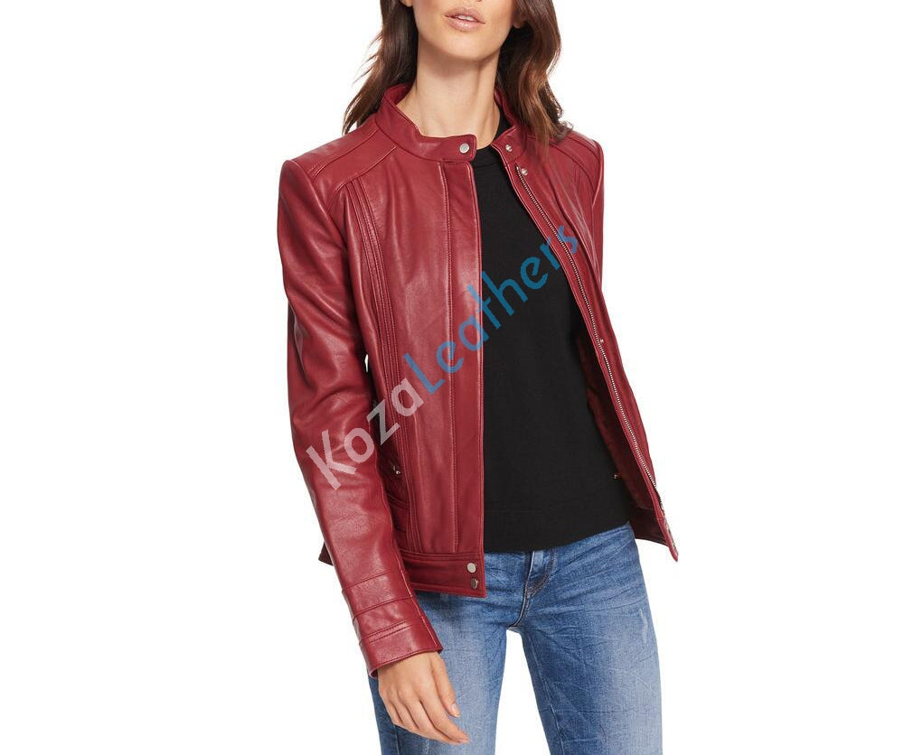 Women Real Lambskin Leather Biker Jacket KW103