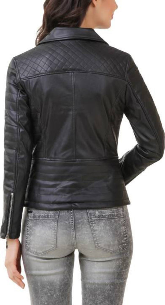Biker / Motorcycle Jacket - Women Real Lambskin Leather Biker Jacket KW383 - Koza Leathers