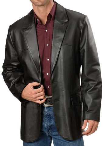 Leather Blazer - Men Real Sheepskin Leather Blazer KB002 - Koza Leathers