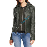 Biker / Motorcycle Jacket - Women Real Lambskin Leather Biker Jacket KW184 - Koza Leathers