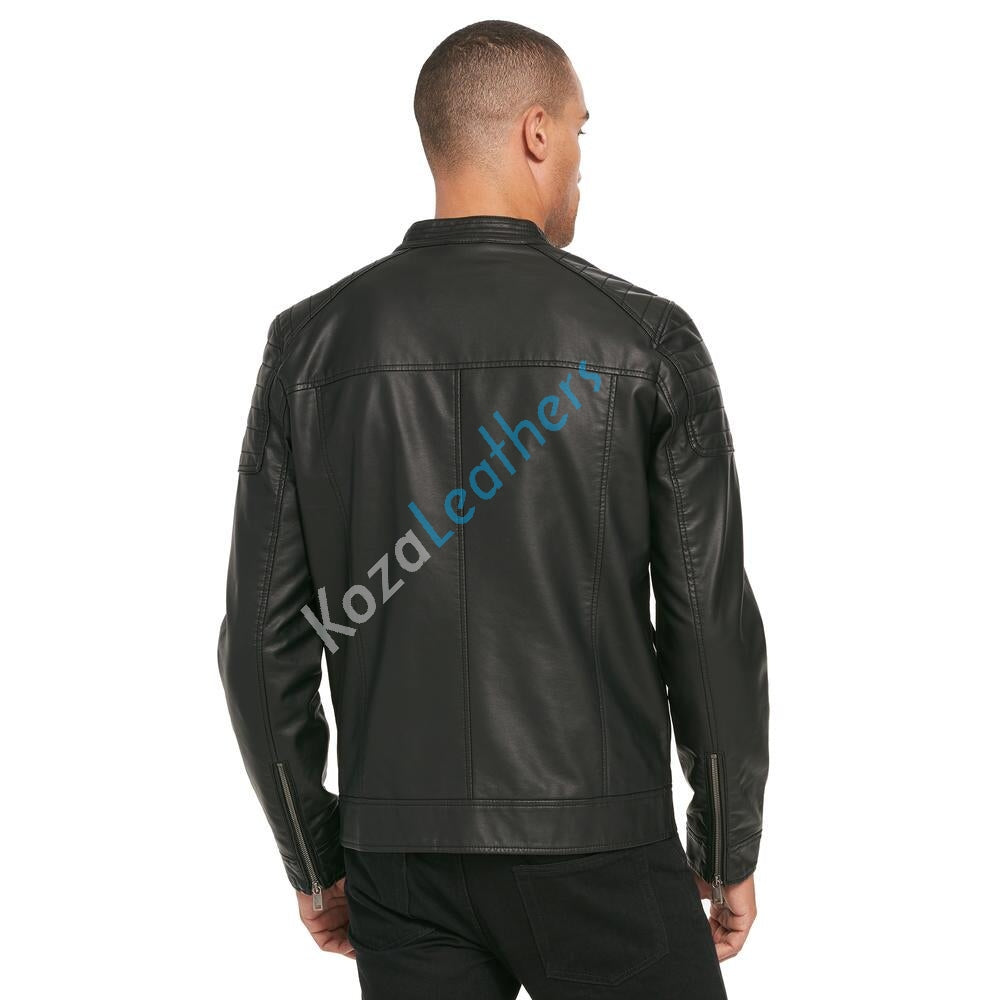 Biker Jacket - Men Real Lambskin Motorcycle Leather Biker Jacket KM212 - Koza Leathers