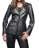 Koza Leathers Women's Real Lambskin Leather Blazer BW016