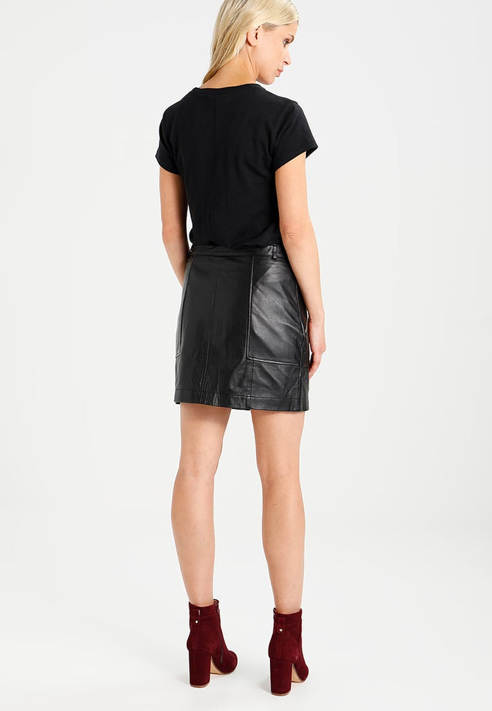Knee Length Skirt - Women Real Lambskin Leather Mini Skirt WS135 - Koza Leathers