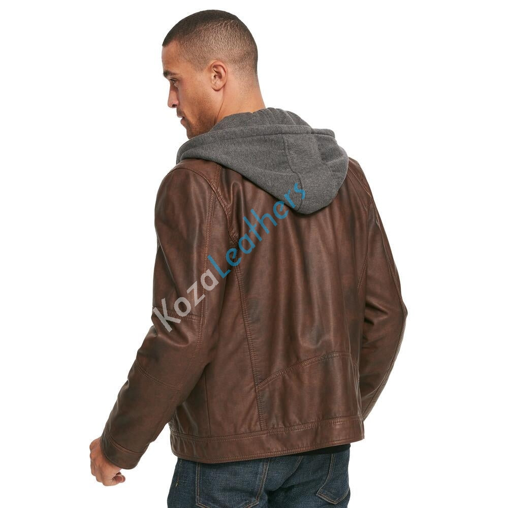 Biker Jacket - Men Real Lambskin Motorcycle Leather Biker Jacket KM214 - Koza Leathers