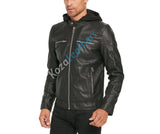 Biker Jacket - Men Real Lambskin Motorcycle Leather Biker Jacket KM215 - Koza Leathers