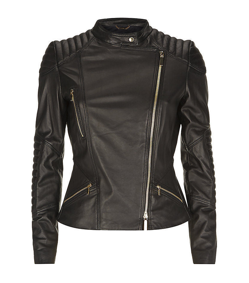Women Real Lambskin Leather Biker Jacket KW080