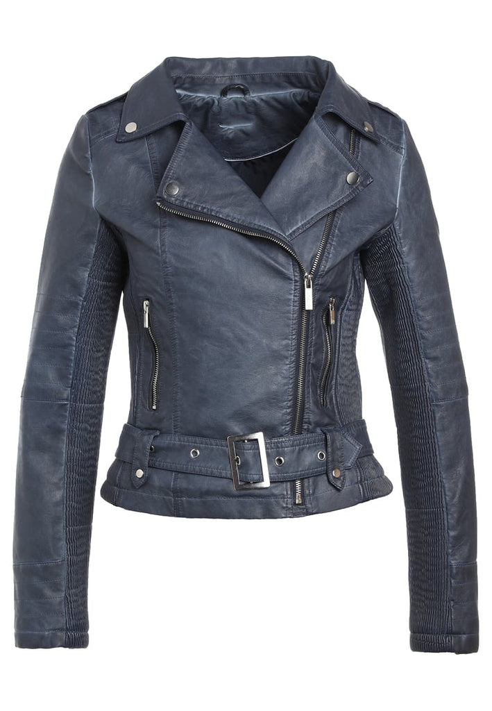Biker / Motorcycle Jacket - Women Real Lambskin Leather Biker Jacket KW294 - Koza Leathers
