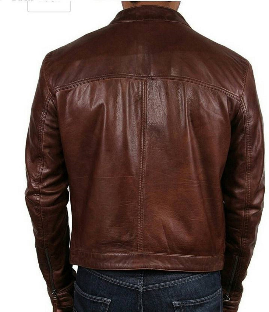 Biker Jacket - Men Real Lambskin Motorcycle Leather Biker Jacket KM494 - Koza Leathers