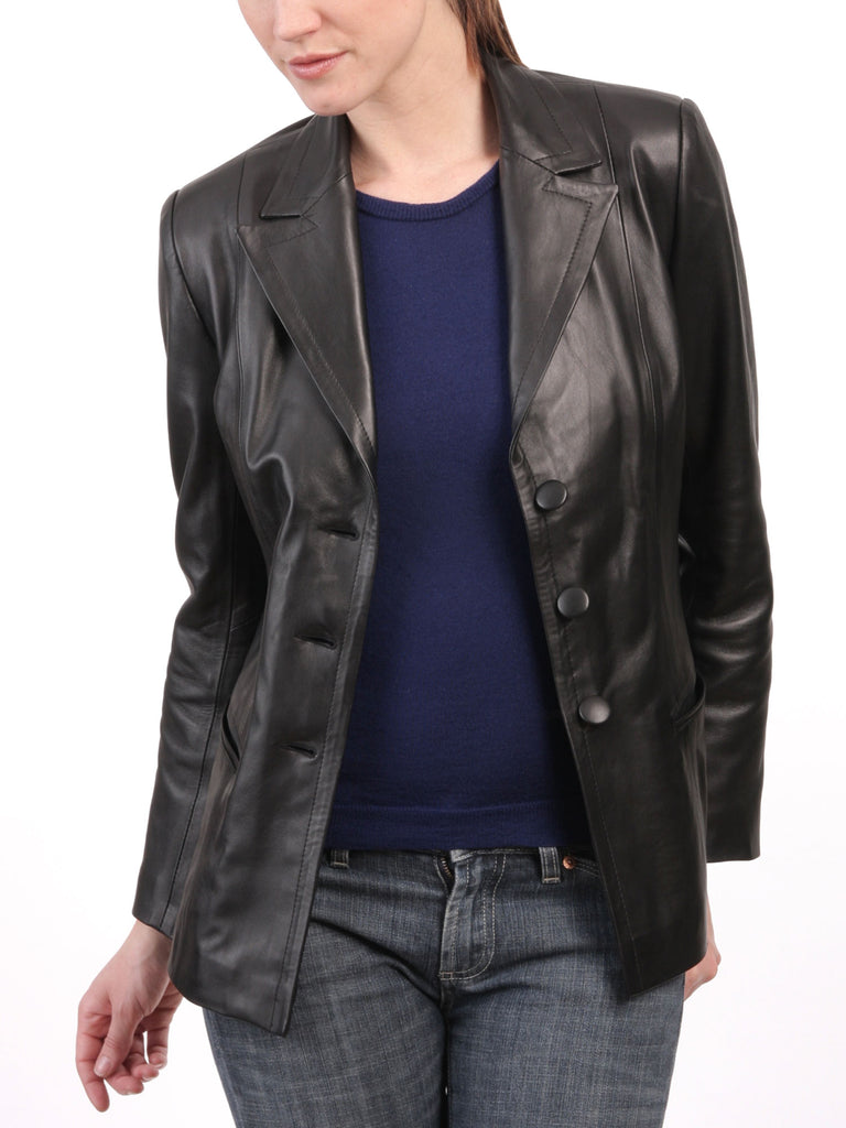 Koza Leathers Women's Real Lambskin Leather Blazer BW061