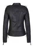 Women Real Lambskin Leather Biker Jacket KW085