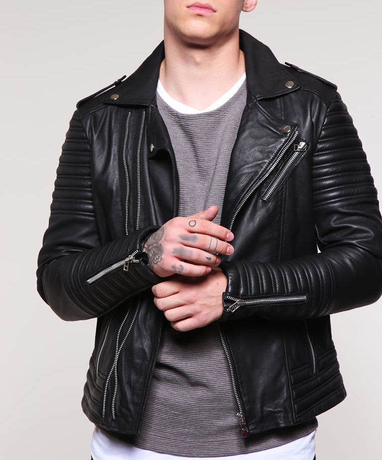 Biker Jacket - Men Real Lambskin Motorcycle Leather Biker Jacket KM239 - Koza Leathers