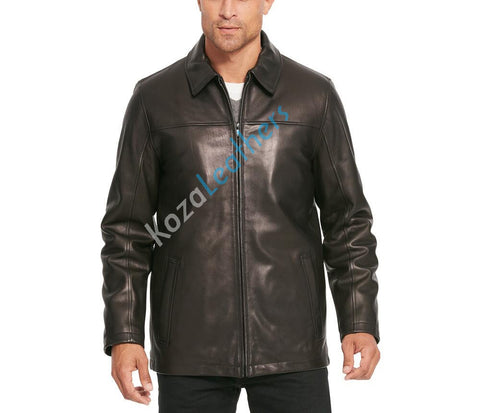 Koza Leathers Men's Genuine Lambskin Bomber Leather Jacket NJ007